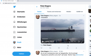 Screenshot: Eingebettetes Video bei Twitter